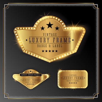 Goldener Luxusrahmen mit Birnenlichtgrenze. Golden Shine Label Banner Design