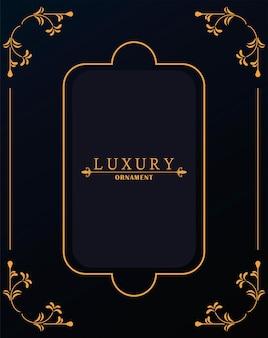 Goldener luxusrahmen mit viktorianischem stil im schwarzen hintergrund