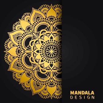 Goldener mandala-designhintergrund. ethnische runde verzierung. hand gezeichnetes indisches motiv. einzigartiger goldener blumendruck.