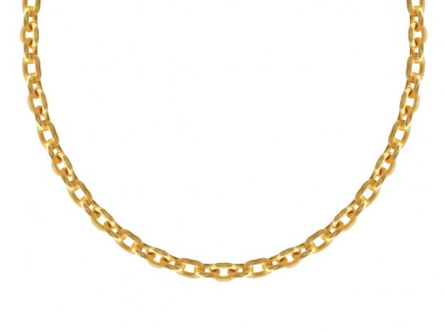 Goldener metallischer kettenhalskettenvektorsatz.