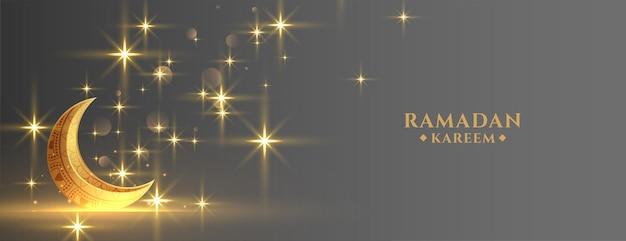Goldener mond des eid-festivals mit funkelndem ramadan-banner