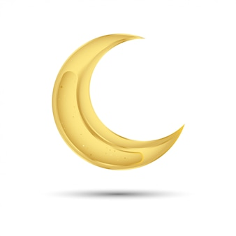 Goldener mond zum muslimischen fest des heiligen monats ramadan kareem
