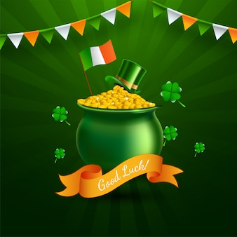 Goldener münztopf mit koboldhut, kleeblattblättern und irischer flagge auf grünen strahlen