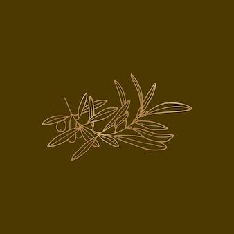 Goldener olivenzweig mit blättern und früchten im trendigen minimal-liner-stil. botanische vektorgrafik für logo-design und erstellen von mustern, hochzeitskarten, druck und anderen