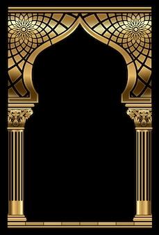 Goldener orientalischer bogenrahmen