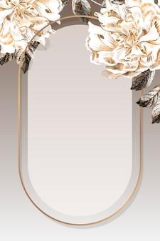 Goldener ovaler pfingstrosenrahmenvektor