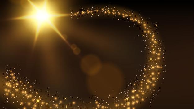 Goldener partikelspurhintergrund