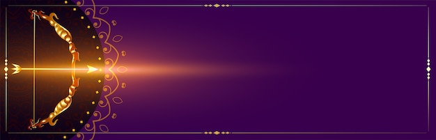 Goldener pfeil und bogen auf lila feierfahnenvektor