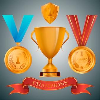 Goldener pokal und medaillen mit bändern sammlung
