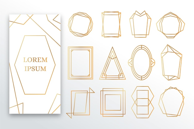 Goldener polygonaler rahmensatz