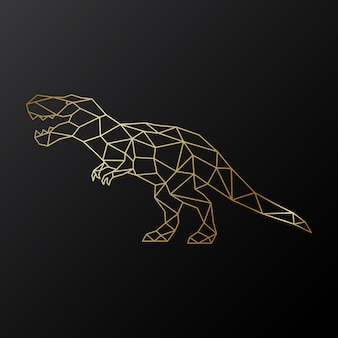 Goldener polygonaler tyrannosaurus-dinosaurier