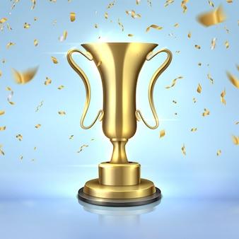 Goldener preis. realistischer championpokal, 3d-gewinner-trophäenentwurfsschablone, führungskonzept mit konfetti. goldener preis auf blau