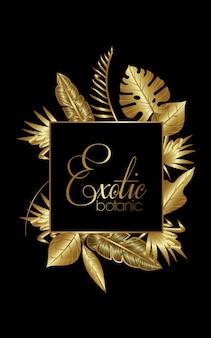 Goldener quadratischer luxusrahmen der exotischen botanik
