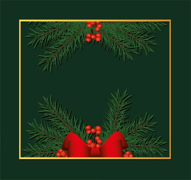Goldener quadratischer rahmen der glücklichen frohen weihnachten mit bogen- und blattillustration