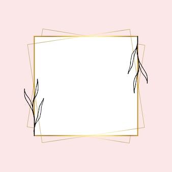 Goldener quadratischer rahmen mit einfacher blumenzeichnung