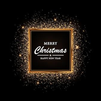 Goldener quadratischer rahmen mit glitzer für weihnachten glänzender rahmen mit lichteffekten glühender luxus