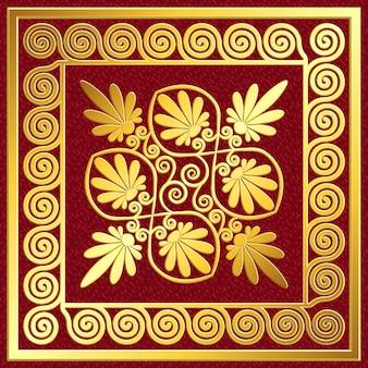 Goldener quadratischer rahmen mit traditionellem griechischem mäander und blumenmuster