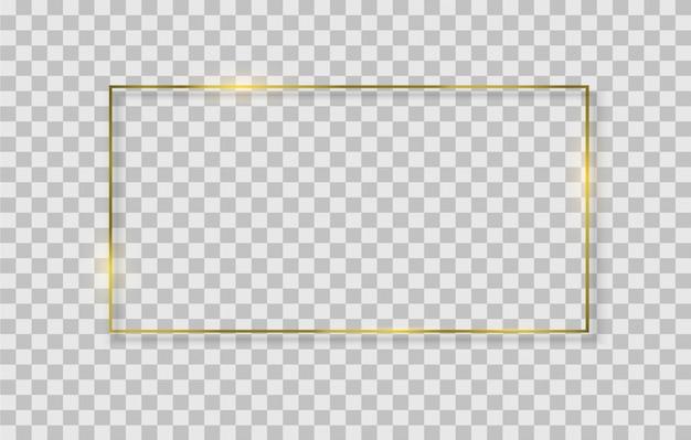 Goldener quadratischer, runder, ovaler rahmen mit lichteffekten.