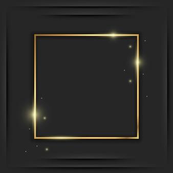 Goldener quadratischer vintage-rahmen mit schatten auf schwarz. goldene rechteckige luxusgrenze