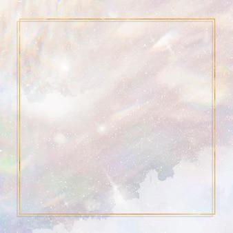 Goldener rahmen auf pastellfarbenem glitzerndem hintergrund