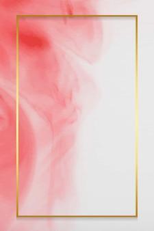 Goldener rahmen auf rotem aquarellvektor