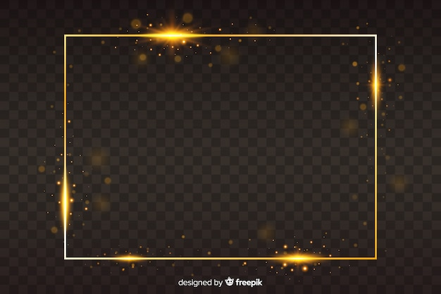 Goldener rahmen auf transparentem hintergrund
