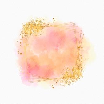 Goldener rahmen des funkelnden aquarells