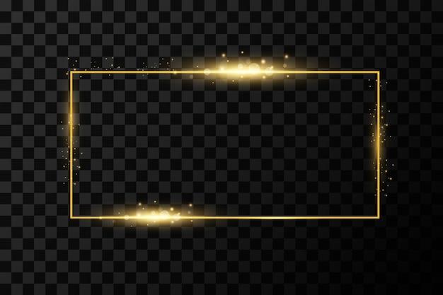 Goldener rahmen. glänzendes rechteck. isoliert auf schwarzem transparentem hintergrund.