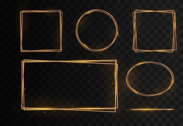 Goldener rahmen, lichteffekte, quadratische, runde, ovale ränder.