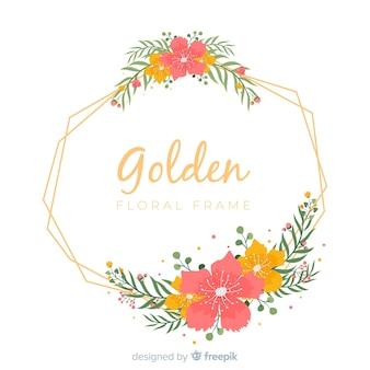 Goldener rahmen mit blumen