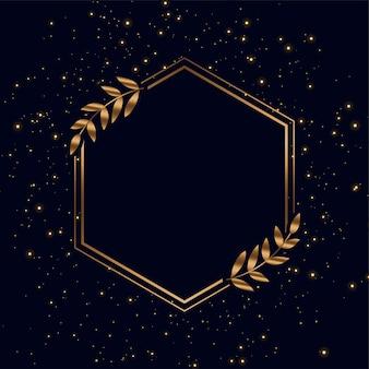 Goldener rahmen mit funkeln und blättern hintergrund