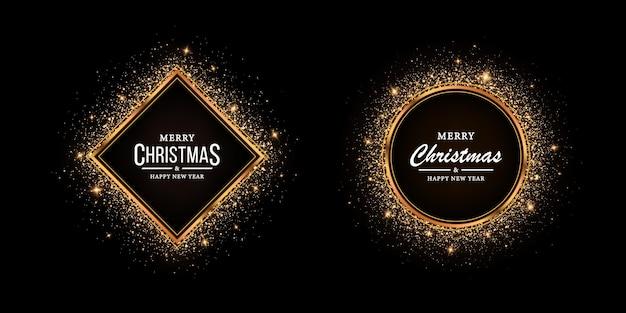 Goldener rahmen mit glitzer für weihnachten glänzender rahmen mit lichteffekten glühender luxusbanner