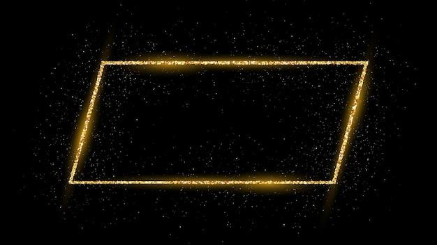 Goldener rahmen mit glitzer, funkeln und fackeln auf dunklem hintergrund. leere luxuskulisse. vektor-illustration.