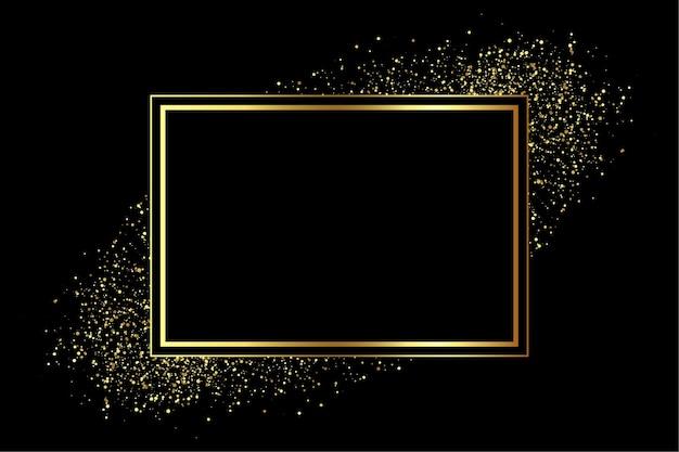 Goldener rahmen mit glitzerstreuung