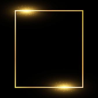 Goldener rahmen mit lichteffekten auf schwarzem transparentem hintergrund vektor-illustration isoliert