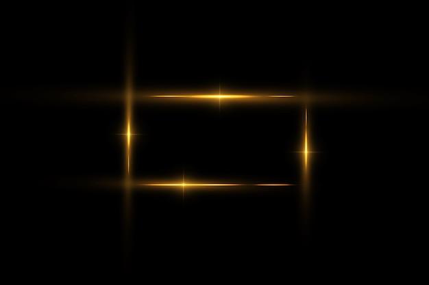 Goldener rahmen mit lichteffekten, glänzender luxusrahmen