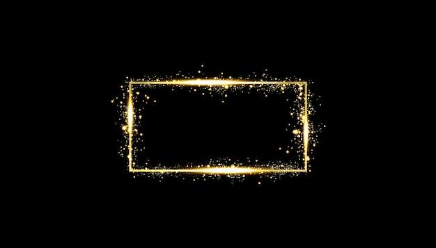 Goldener rahmen mit lichteffekten. glänzendes rechteckbanner. auf schwarzem hintergrund isoliert.