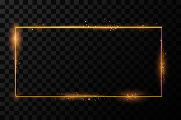Goldener rahmen mit lichteffekten. glänzendes rechteckbanner. isoliert . illustration