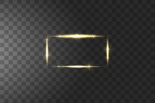 Goldener rahmen mit lichteffekten. glühender goldener rahmen der linie, leuchtendes rechteck