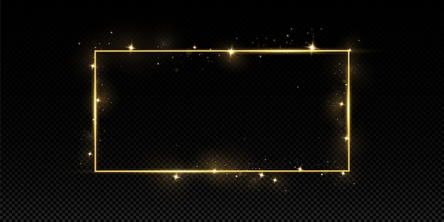 Goldener rahmen mit lichteffekten. isoliert