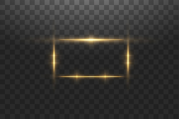 Goldener rahmen mit lichteffekten, leuchtendes luxusbanner. glühender goldener rahmen mit funken