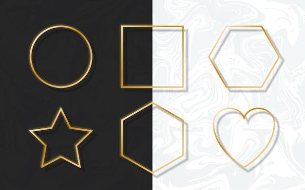Goldener rahmen mit lichtschatten und lichteffekten. golddekoration im minimalistischen stil. grafisches metallfolienelement in geometrischer dünner rechteckform.