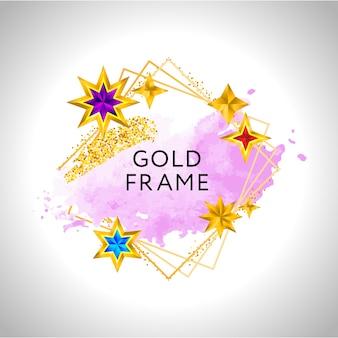 Goldener rahmen mit rosa aquarellspritzer und goldenen sternen