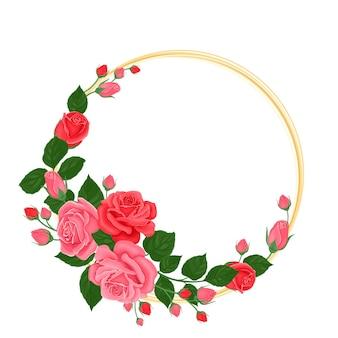 Goldener rahmen mit roten und rosa rosen, knospen und grünen blättern.