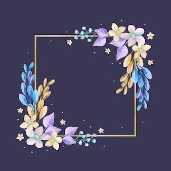Goldener rahmen mit winterblumen