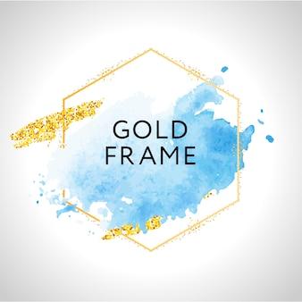 Goldener rahmen. pastellblaue aquarellflecken und goldene linien.