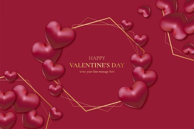 Goldener rahmen zum glücklichen valentinstag mit realistischen herzen