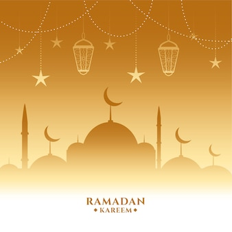 Goldener ramadan kareem schöner hintergrund