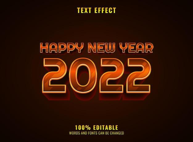 Goldener realistischer texteffekt des neuen jahres 2022