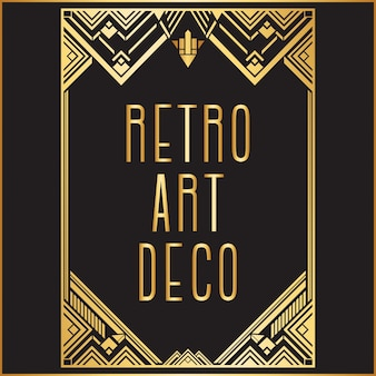 Goldener retro- art decoframe hintergrund